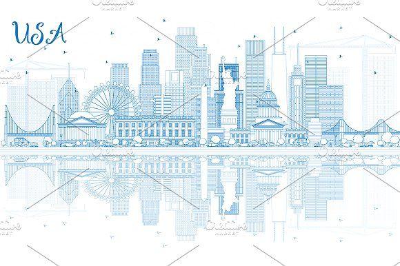 #Outline #USA #Skyline by Igor Sorokin on @creativemarket