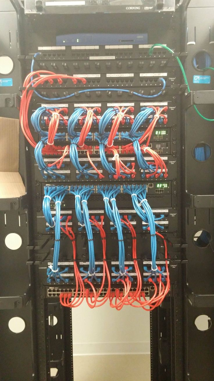 Awesome cable management with Dell PowerConnect 7048P switches. The red Ethernet cables are POE, and the blue cables are data.
