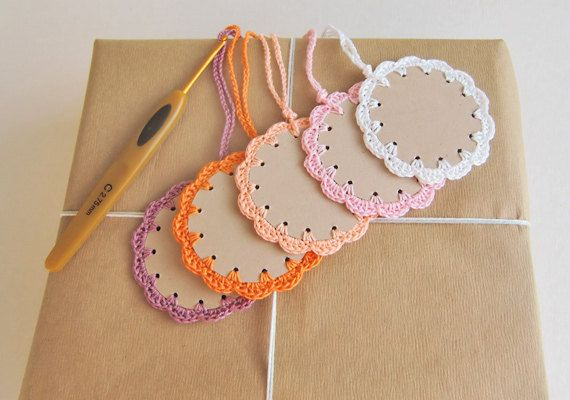 Inspiration....Unique gift tags crochet edging frame around die by goolgool