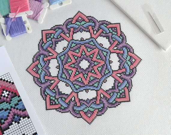 Thank you for looking!  Available here is this complete cross stitch chart which will be made available to you immediately after purchase. Youll be able to download and keep the file.  This mandala design was inspired by traditional Celtic knots and a peaceful palette. The design uses whole cross stitches only and is of an easy skill level. 16 or 14 count white Aida is recommended for this chart. When stitched on 16 count it will measure 17.9 cm x 17.9 cm or 7 x 7 inches. The chart is 113 x…