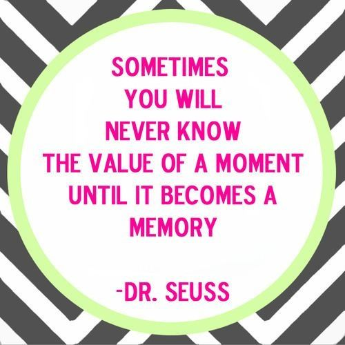 Sometimes you will never know the value of a moment until it becomes a memory. -Dr. Seuss