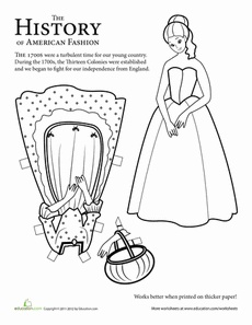 Colonial Paper Doll: Girl Worksheet