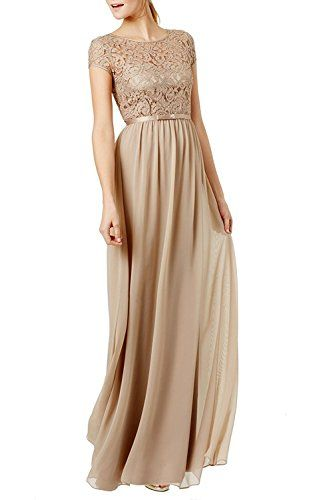Ssyiz Women's Retro Floral Lace Cap Sleeve Vintage Swing Bridesmaid Dress Apricot Large