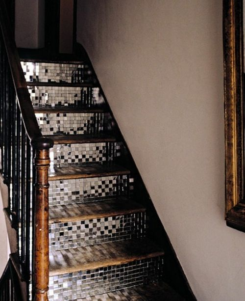 Disco stairs!Discos Ball, Ideas, Mirrors, Stairs Risers, Glasses Tile, House, Mosaics Tile, Staircas, Stairways