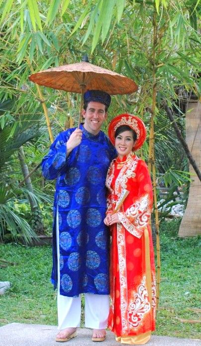 Custom-made in Vietnam his and her ao dai u0026 khan dong for traditional Vietnamese wedding. The ...