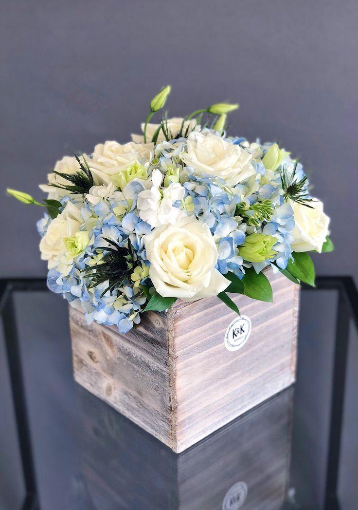 72 Wood Box Arrangement Blue White