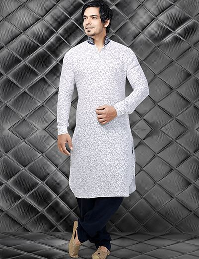 White printed linen men Pathani suit, specially designed for this #Eid Product code - G3-MPS0170 Price - INR 5295/-