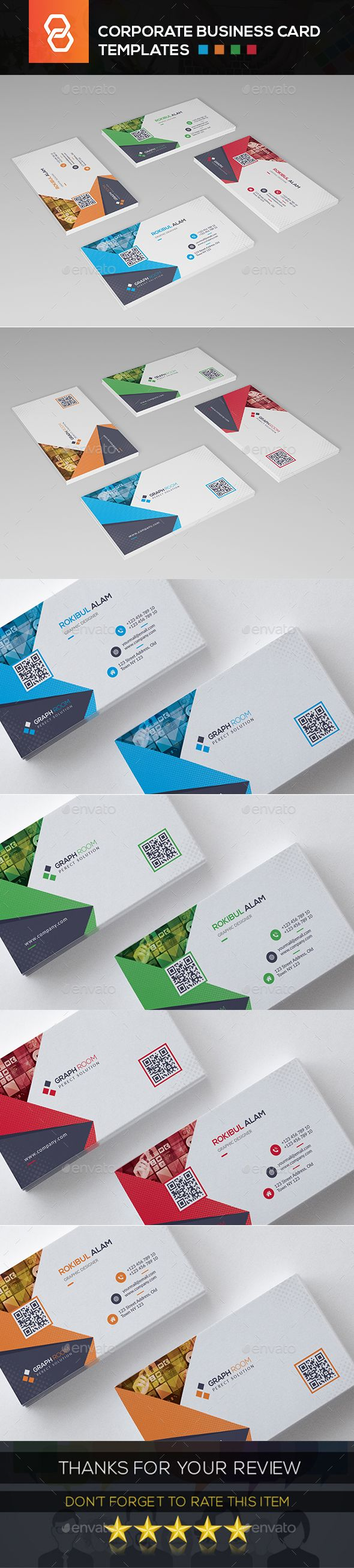 Corporate Business Card Template Psd High Detailed Background And 4 Different Color Corporate Business Card Printing Business Cards Business Card Template Psd