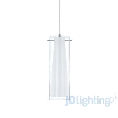 Eglo Pinto Frosted & Clear Glass 1 Light Pendant - 89832