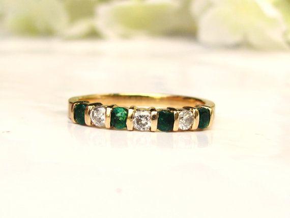 Vintage Diamond & Emerald Wedding Band 14K Yellow Gold Stackable Diamond Wedding Ring Vintage Bridal Jewelry Size 6!