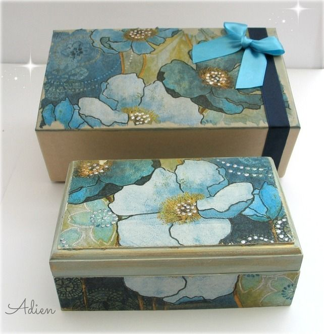 Blue Decorated Wooden Jewellery Box with Gift Box Blue Floral £16.95