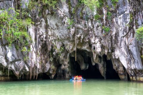 Puerto Princesa Subterranean River – Puerto Princesa, Philippines  This amazing river in the Philippines gives visitors an option to canoe through amazing rock formations that are unlike any others in the world. Make sure to bring your waterproof camera to capture all the incredible sights as you make your way through the river!