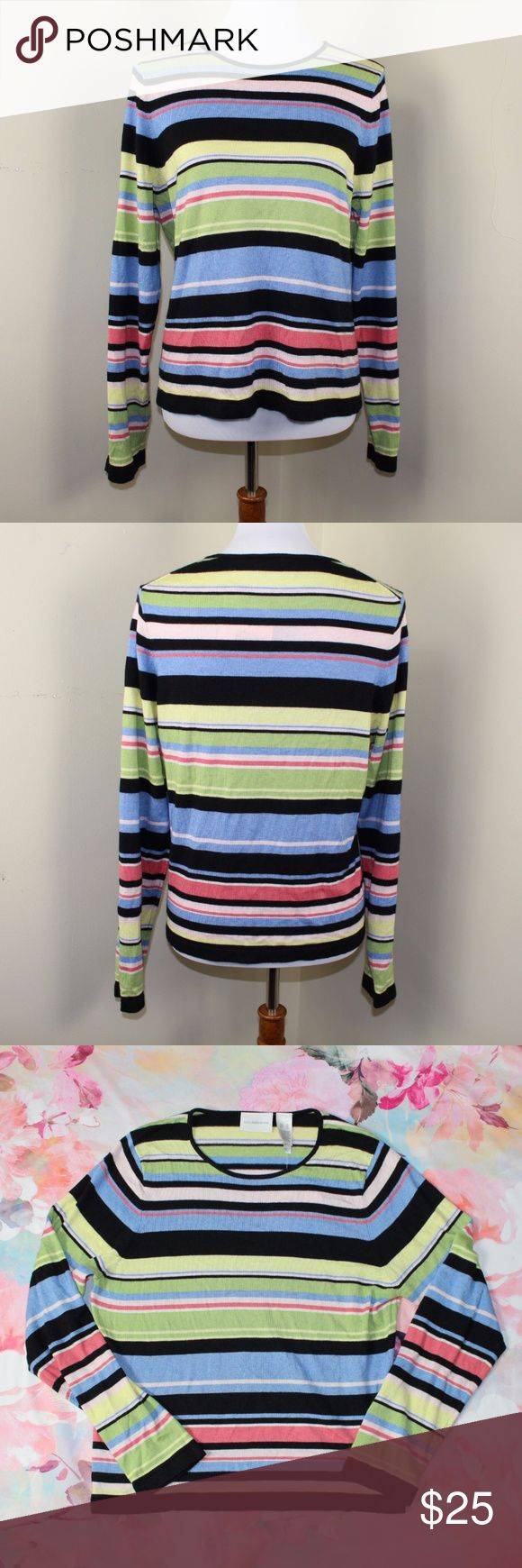NWT Liz Claiborne Colorful Striped Top Size XL New with tags, never worn, perfect condition. Super soft, material is partially Angora Rabbit fur.   My bundle discount is 15% off 2+!! Feel free to ask any questions, additional measurements or photos.  Please submit offers through the offer button. Liz Claiborne Tops Tees - Long Sleeve