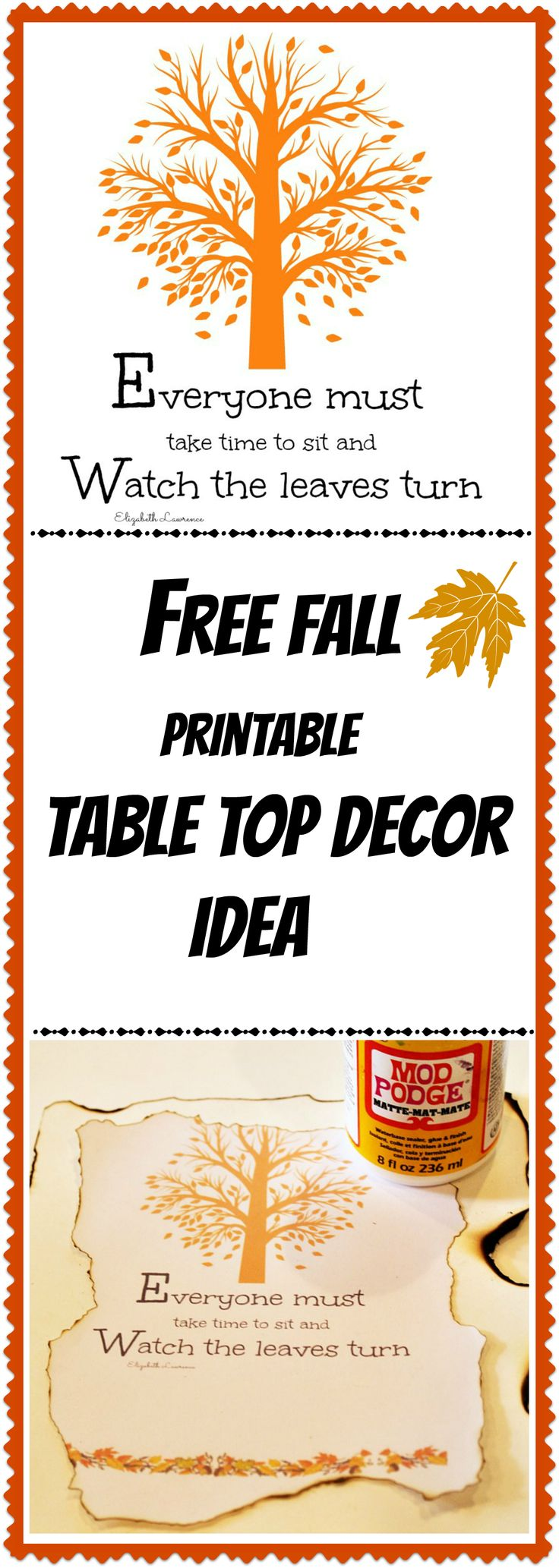 Free #fall printable diy table top decor idea