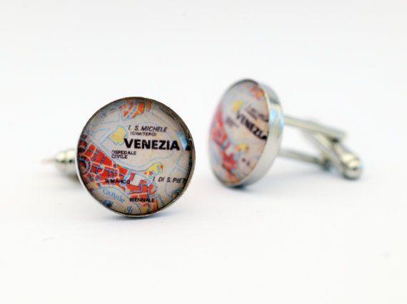 Venezia  Italia  Venice Italy Map Cufflinks by GothChicAccessories, €15.00