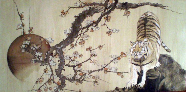 Monica Peralta.Tigre e mandorlo omaggio ad Hokusai. Pigmenti su legno 150x90