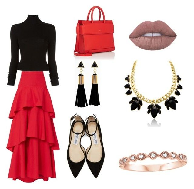 """Sans titre #13"" by rosalie-hudon on Polyvore featuring beauté, MDS Stripes, BLK DNM, Jimmy Choo et Givenchy"
