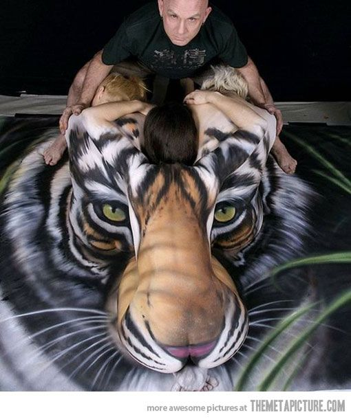 One of the most amazing body paintings wow! It's just two guys and a girl painted. Stevie