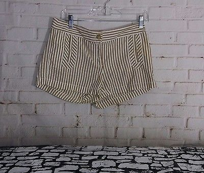 J Crew Women Sz 2 Striped Short Shorts Cotton Olive Green & White