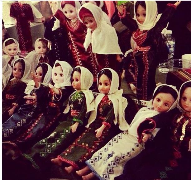 Palestinian Barbie dolls wearing thobs. Too cute! Each thob represents a balad (village)