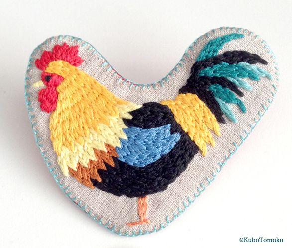 #KuboTomoko #Crafts #刺しゅう #刺繍 #embroidery #handmade #ハンドメイド #illustration #イラストレーション #Rooster #雄鶏 #鶏 #ニワトリ #brooch #ブローチ