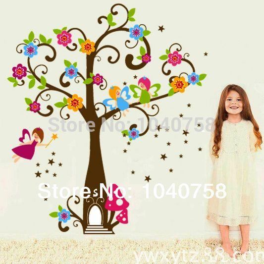 Дерево стены наклейки для детская комната цветочное оформление дерево цветочные феи звезды принцесса стен для детей домой стены украшены картинами