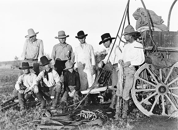 Cowboys Around the Hoodlum Wagon, Spur Ranch, Texas, 1910: