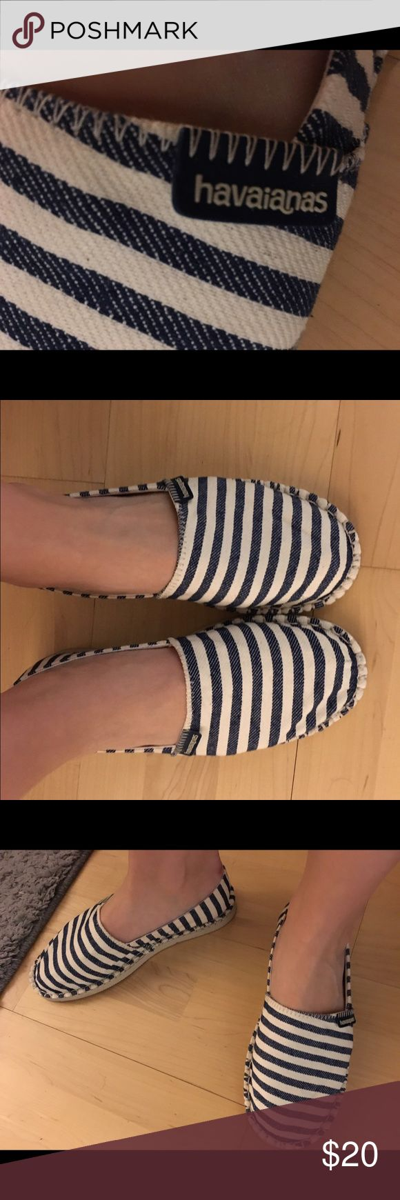 Genuine Havaianas striped mules size M From the famous Brazilian flip flop maker!  These are never worn and brought back from - trip to Brazil!  I wear a 9.5 and fit these comfortably. Havaianas Shoes Sandals