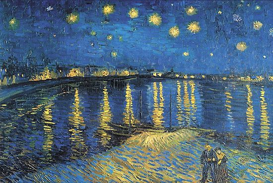 Starry Night over the Rhone was painted in 1888 and is displayed in the Musee d'Orsay, Paris. This is one of my favorites because I like the bright colors, how the lights from the building reflections are shown on the water . You can see the short thick brush strokes. You can tell it's a van Gogh because the yellow paint doesn't blend with the blue paint or any other colors.