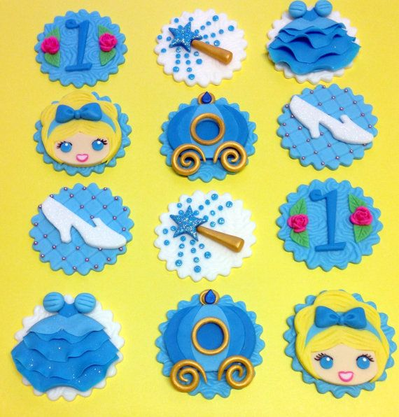 Princess Cupcake Toppers Fondant Cupcake Toppers by CherryBayCakes