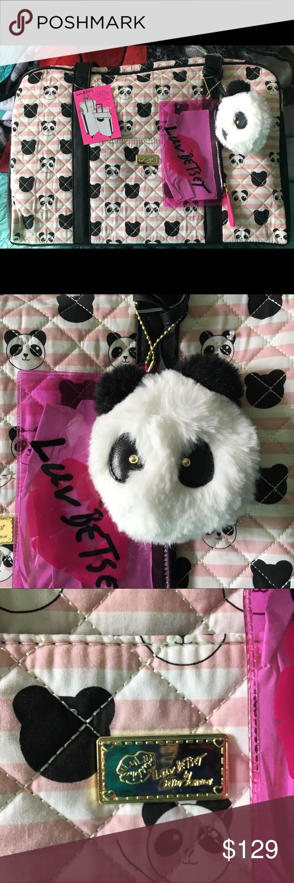 ❤️💚 BETSEY JOHNSON Travel Bag NWTS Betsey Johnson Carry On Travel Bag. In the adorable Panda Style. It has a ton of room for all your necessities. There are pockets on the inside. A pink bag that will hold items attached to the outside. Also has a sweet PANDA Bag Tag. Pretty Pink and black colors. There are straps for easy handling and cross body straps as well. This is perfect for a weekend getaway or an overnight trip. Also as a carry on for a flight. Will be a great gift for a Betsey bag…