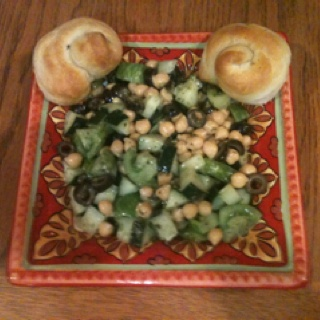 My version of the chickpea salad. No radishes, added cucumber, heirloom tomatoes, black olives and feta. Yum.