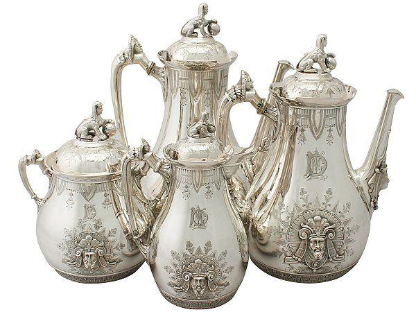American Sterling Silver Four Piece Coffee Service - Empire Style - Antique Circa 1860