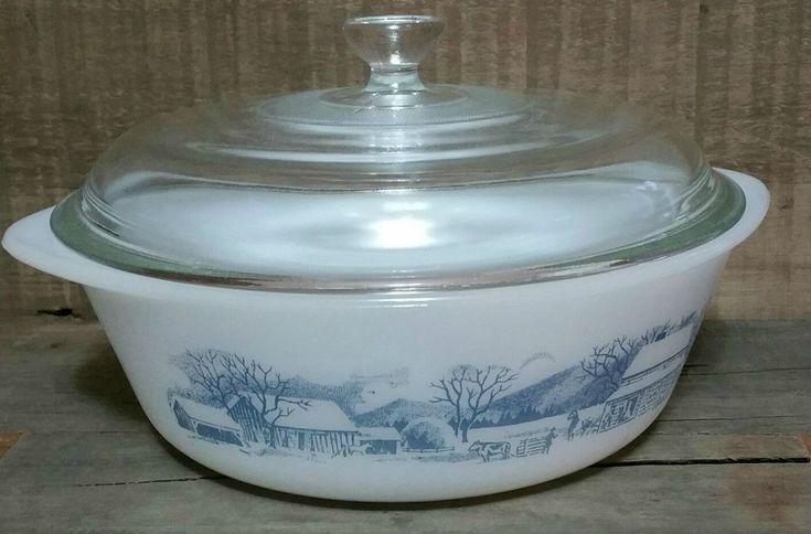 Vintage Glasbake Milk Glass 1 1/2 Quart Casserole Dish, Glasbake Currier And Ives Casserole Dish With Lid, Vintage Glasbake by EmptyNestVintage on Etsy