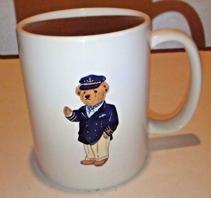 Ralph Lauren Captain Bear USA Coffee Mug Tea Cup Polo 1997 Preppy Yacht