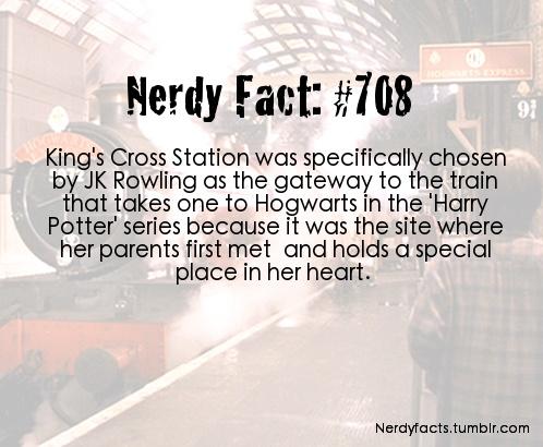 Nerdy fact 708 Harry Potter Kings Cross stations J K Rowling