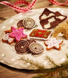 Weihnachtliche Plätzchen zum Häkeln - Häkelanleitung via Makerist.de