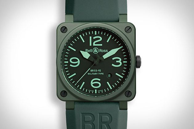 Not all high-end watches have to look boardroom ready. The Bell & Ross Military Ceramic Watch ($4,500) features a self-winding movement, a power reserve of 40 hours, and high-precision adjustment in four positions — all high-end features — but adds a bush-ready matte khaki ceramic case, rubber and heavy-duty synthetic fabric straps, a matte black steel buckle, and a no-nonsense black dial with photo-luminescent numerals, index, and hands.