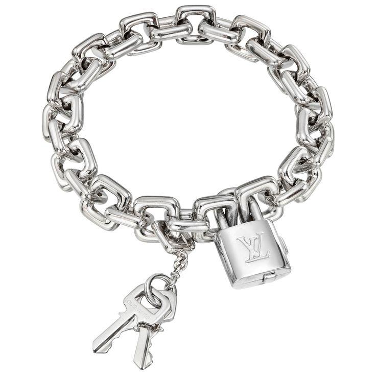 Louis Vuitton 18k White Gold Padlock & Keys Charm Bracelet