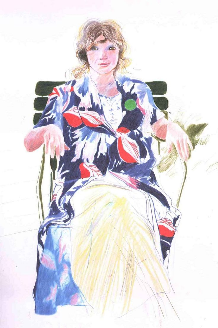 Celia drawn in crayon by Hockney