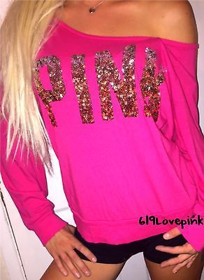 Victoria's Secret Love Pink BLING Long sleeve T shirt TOP sexy scoop neck euc M