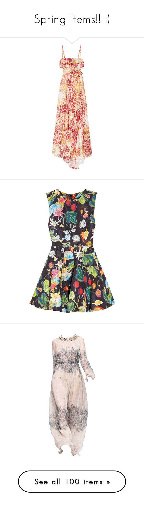 """""""Spring Items!! :)"""" by vansant ❤ liked on Polyvore featuring dresses, gowns, maxi dress, vestidos, tomato red, colorful dresses, multi colored maxi dresses, loose dresses, ruffle dress and multi color maxi dress"""
