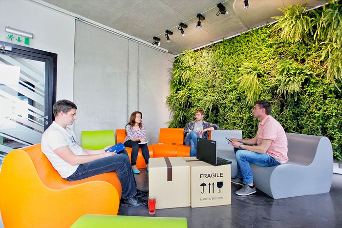 DraugiemGroup's, Riga Headquarters; box tableStartups Offices, Living Wall, Offices Design, Greenwall Wallpot, Offices Greenwall, Green Wall, Gorgeous Startups, Draugiem Offices, Plants Wall