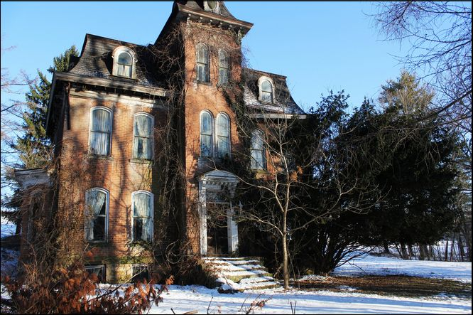 Abandoned home in Brownsville, PA. The original stone part ...