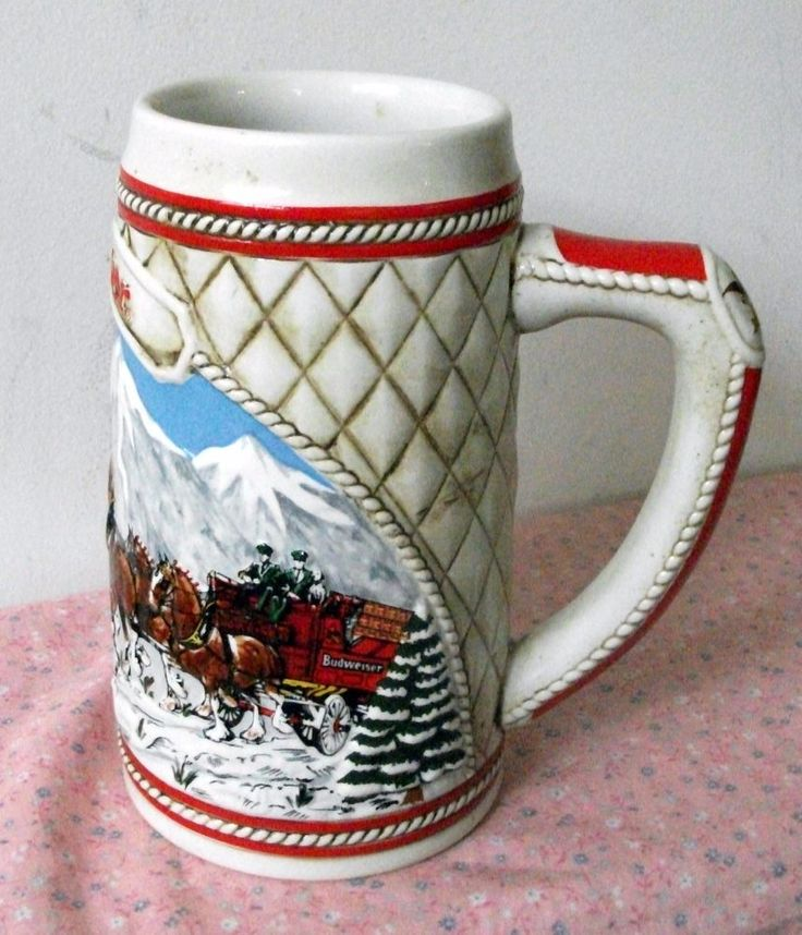"Vintage Budweiser Stein 1985 A series Collectible ""Snow Capped Mountains"" Horses"