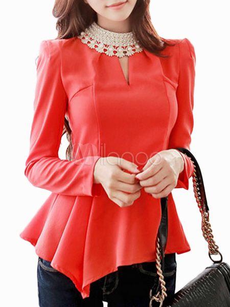 Blusa de algodón de color liso con manga larga y perlas - Milanoo.com