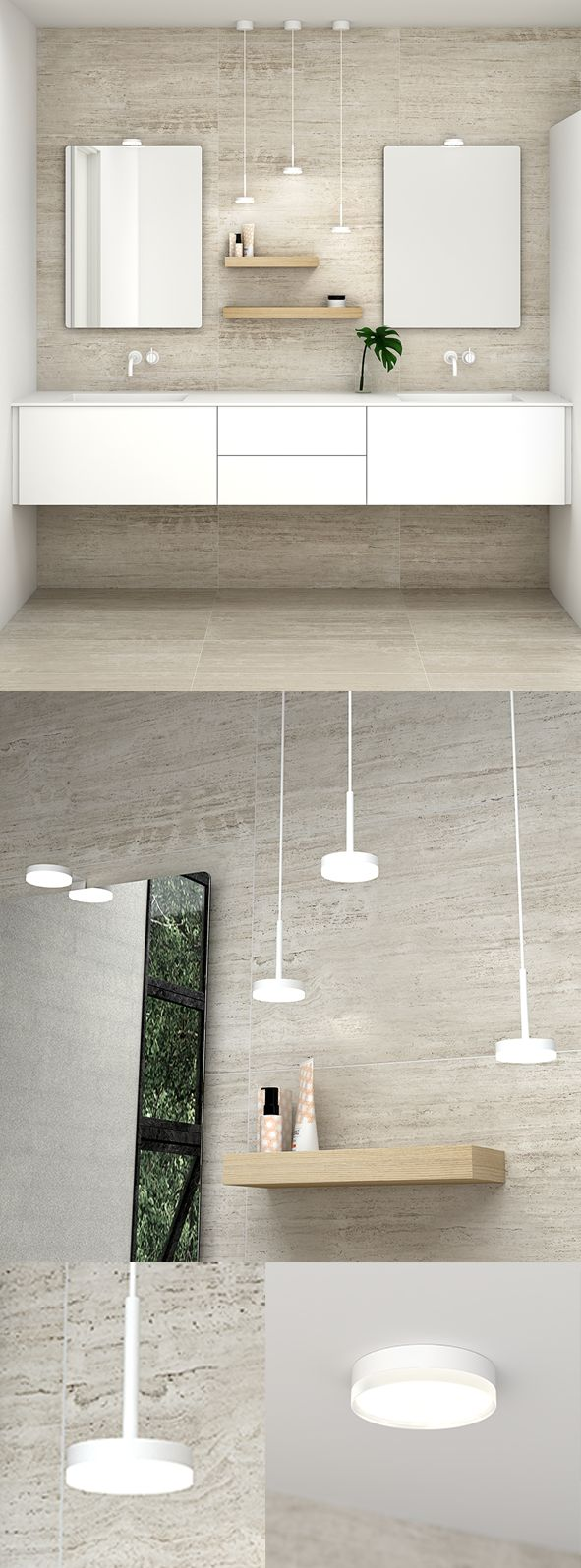 Create a perfect lighting in your bathroom with the Jupiter serie. Combine both LED pendant, ceiling lights and mirror lights.