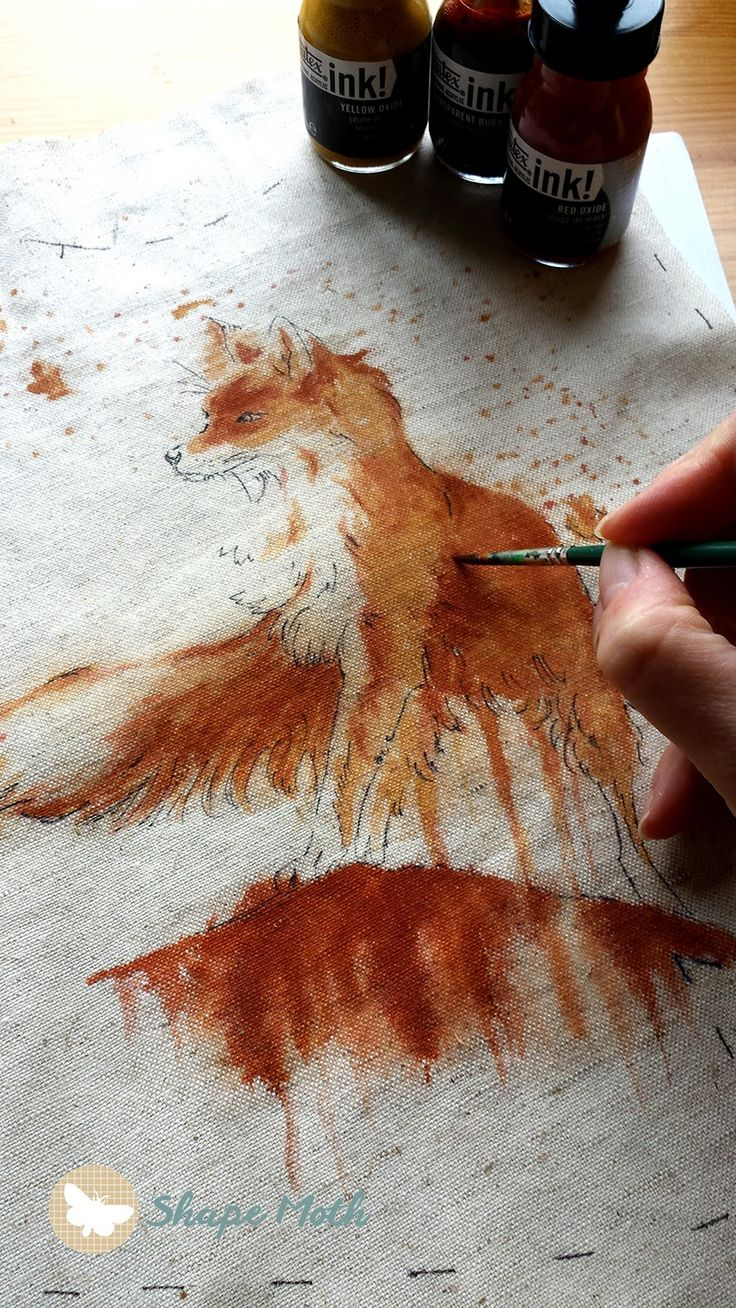 Liquitex Inks painted on fabric, details added with thread...