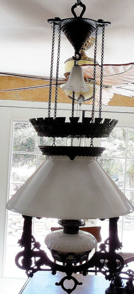 Bradley Hubbard Counter Balance Library Oil Lamp Milk Glass Shade Smoke Bell