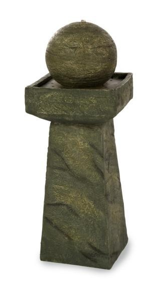 """Zen Indoor-Outdoor Fountain - The indoor/outdoor Zen Fountain will add the sound of flowing water while accentuating your decor with a minimalist aesthetic. Material: 56% Polyresin, 38% Calcium Carbonate, 5.5% Fiberglass, 0.5% Paint. 23.75""""h x 9.75""""w x 9.75""""."""